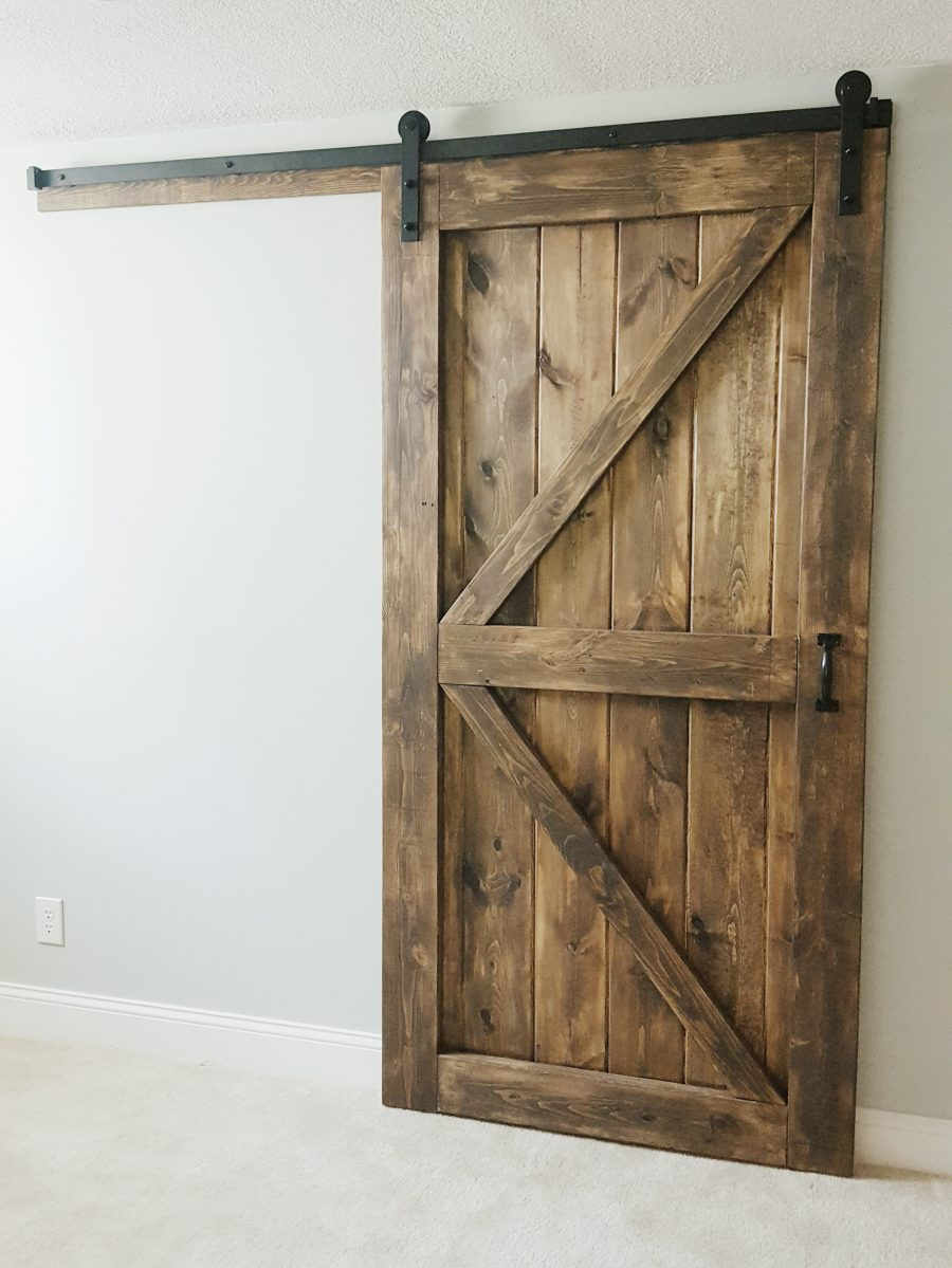 Barn door gray wash sliding 2 panel z style walston for Door companies