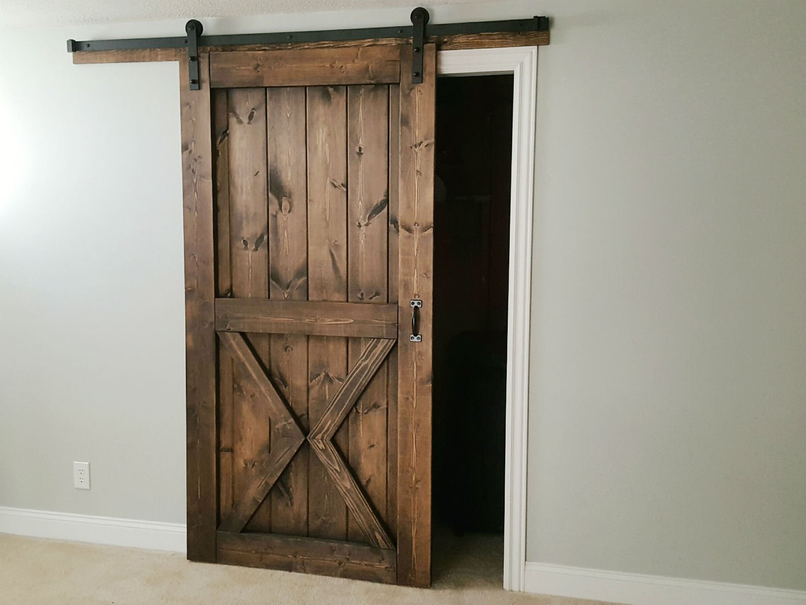 Gray Wash Sliding Barn Door   2 Panel Z Style