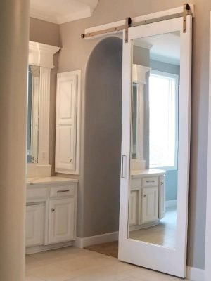 Full Mirror Painted Frame Barn Door