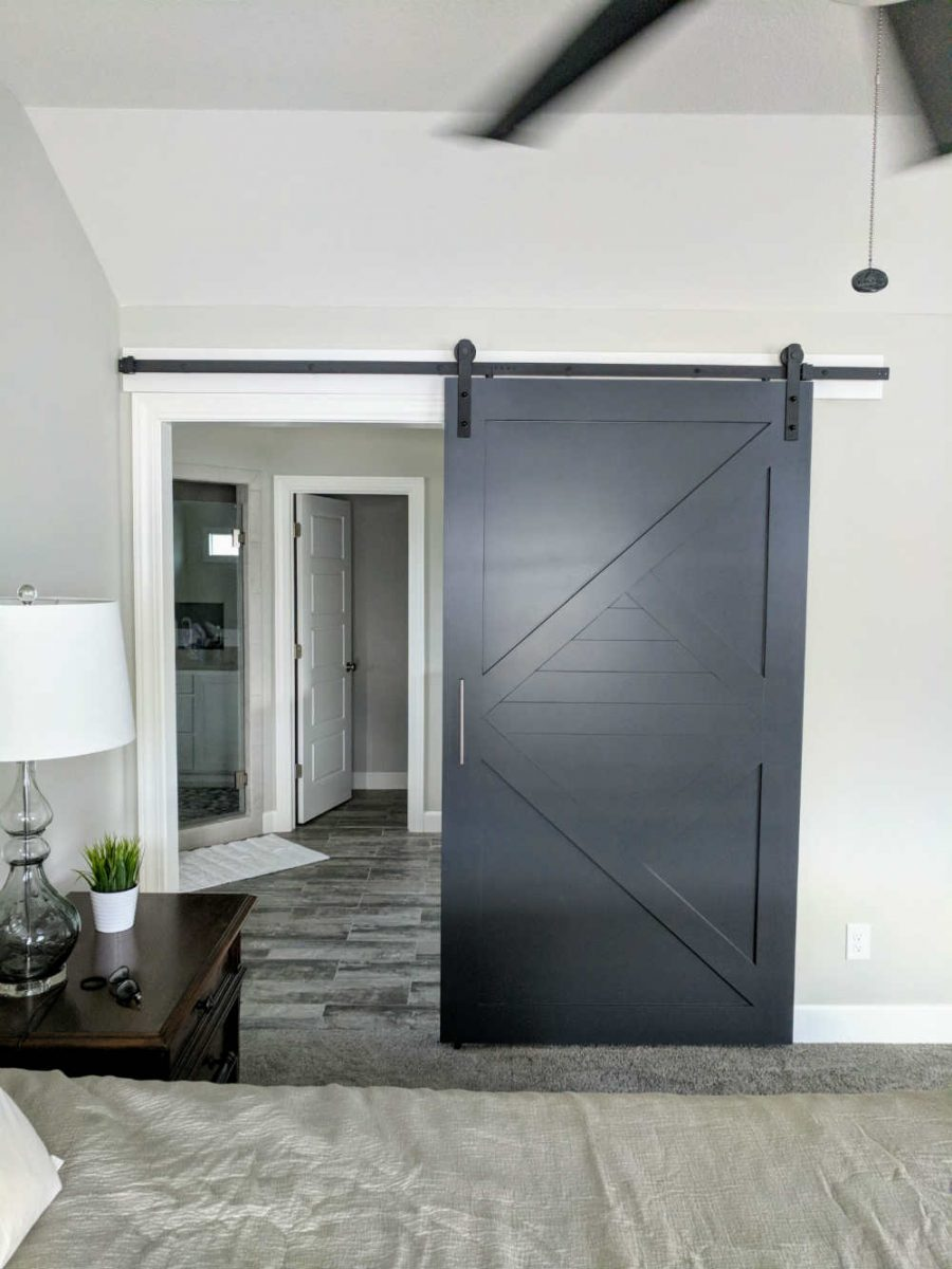 painted modern arrow barn door