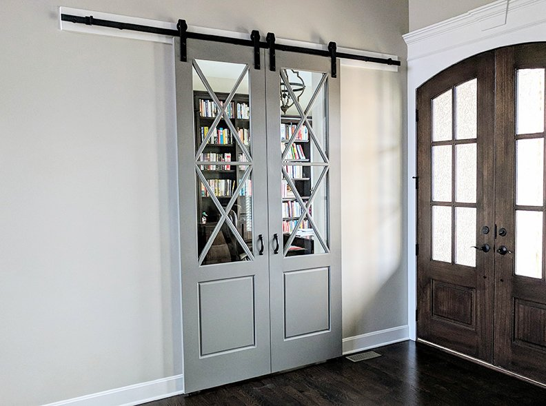 barn door with glass window